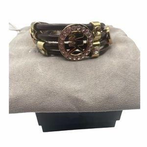 MICHAEL KORS Brown Leather & Gold Bracelet